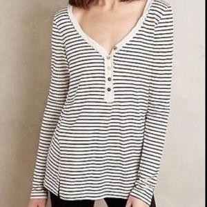 Anthropolgie T.la Pernette Striped Henley Tee Black Cream Long Sleeve Buttons